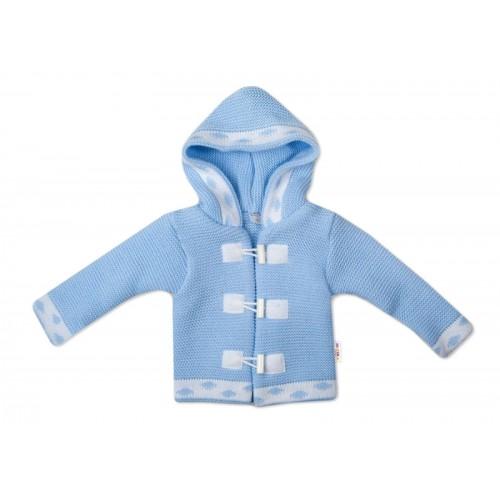 Baby Nellys Dvojvrstvová dojčenská bundička, svetrík - modrý, veľ. 80 - 80 (9-12m)