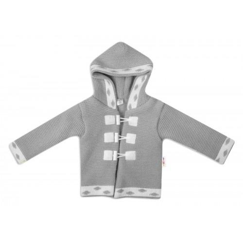 Baby Nellys Dvojvrstvová dojčenská bundička, svetrík - šedý, veľ. 74 - 74 (6-9m)