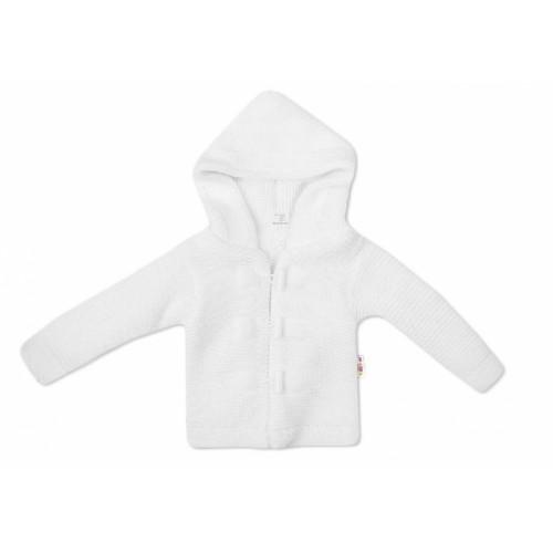 Baby Nellys Dvojvrstvová dojčenská bundička, svetrík - biely - 56 (1-2m)