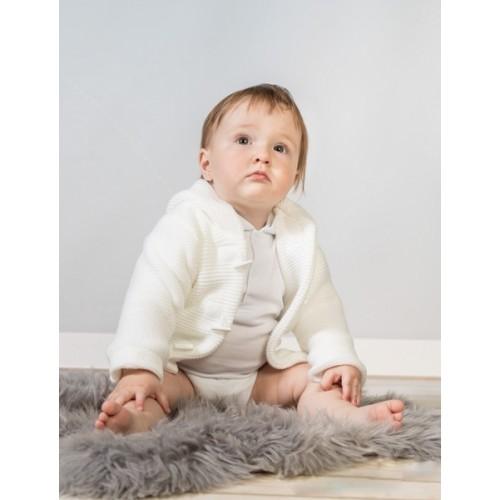 Baby Nellys Dvojvrstvová dojčenská bundička, svetrík - biely, veľ. 80 - 80 (9-12m)