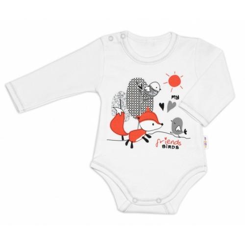 Baby Nellys Bavlnené dojčenské body, dl. rukáv, Fox - biele, veľ. 74 - 74 (6-9m)
