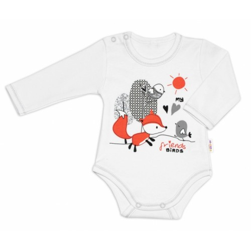 Baby Nellys Bavlnené dojčenské body, dl. rukáv, Fox - biele, veľ. 80 - 80 (9-12m)
