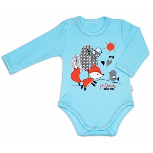 Baby Nellys Bavlnené dojčenské body, dl. rukáv, Fox - tyrkysové, veľ. 62 - 62 (2-3m)