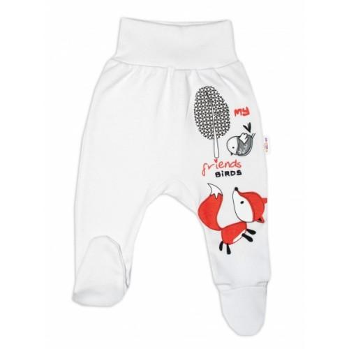 Baby Nellys Bavlnené dojčenské polodupačky, Fox - biele, veľ. 68 - 68 (4-6m)
