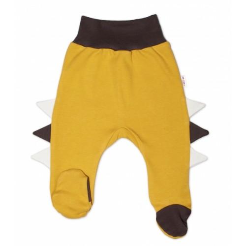 Baby Nellys Bavlnené dojčenské polodupačky, Crocodiles - horčicové - 56 (1-2m)