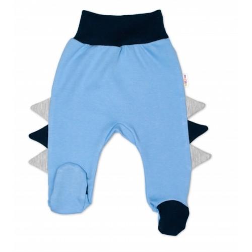 Baby Nellys Bavlnené dojčenské polodupačky, Crocodiles - modré - 56 (1-2m)