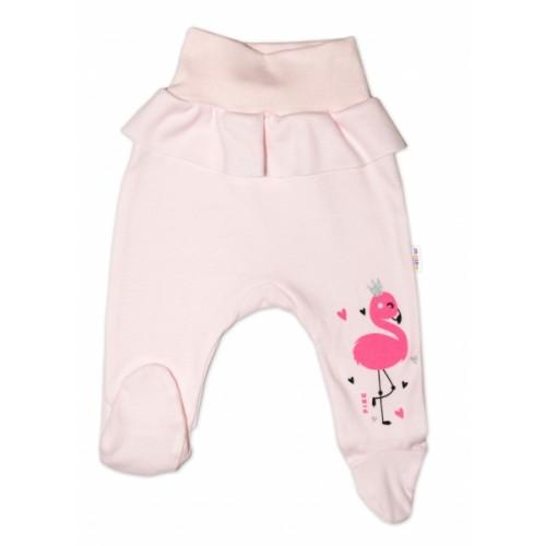 Baby Nellys Bavlnené dojčenské polodupačky, Flamingo - růžové, veľ. 80 - 80 (9-12m)