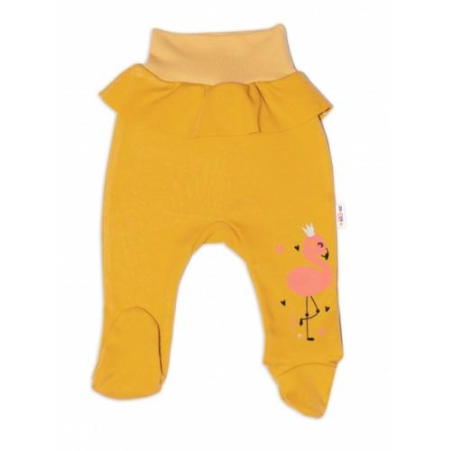 Baby Nellys Bavlnené dojčenské polodupačky, Flamingo - horčicové - 56 (1-2m)