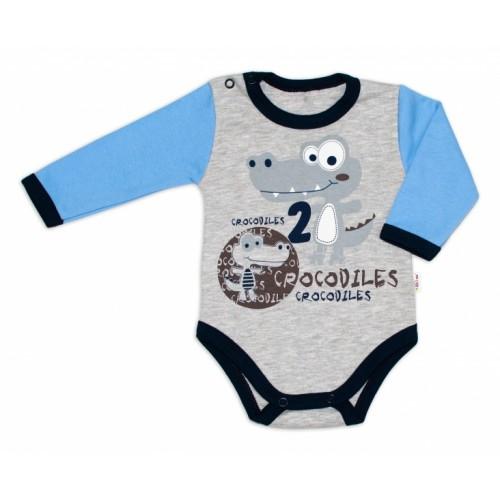 Baby Nellys Bavlnené dojčenské body, dl. rukáv, Crocodiles - šedo/modré, veľ. 80 - 80 (9-12m)