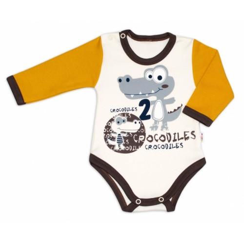 Baby Nellys Bavlnené dojčenské body, dl. rukáv, Crocodiles - smot /horčicová, veľ. 86 - 86 (12-18m)