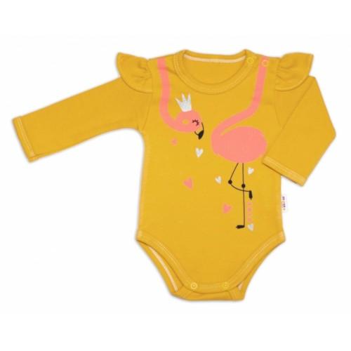 Baby Nellys Bavlnené dojčenské body, dl. rukáv, Flamingo s volánikom - horčicove - 56 (1-2m)