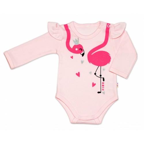 Baby Nellys Bavlnené dojčenské body, dl. rukáv, Flamingo s volánikom - růžové - 56 (1-2m)