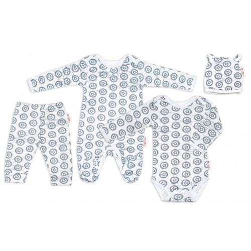 Baby Nellys 4 dielna kojeneká soupravička Hviezdička - šedo /biela, veľ. 62 - 62 (2-3m)
