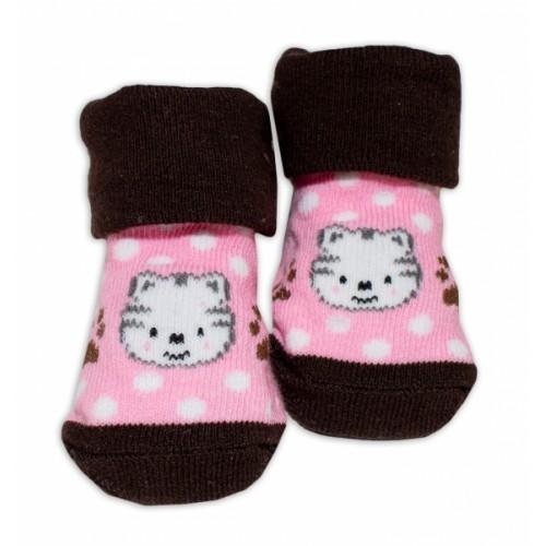 Dojčenské ponožky 0-6 m,Bobo Baby - Mačička, růžová - 0/6 měsíců