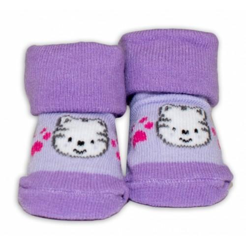 Dojčenské ponožky 0-6 m,Bobo Baby - Mačička, fialová - 0/6 měsíců