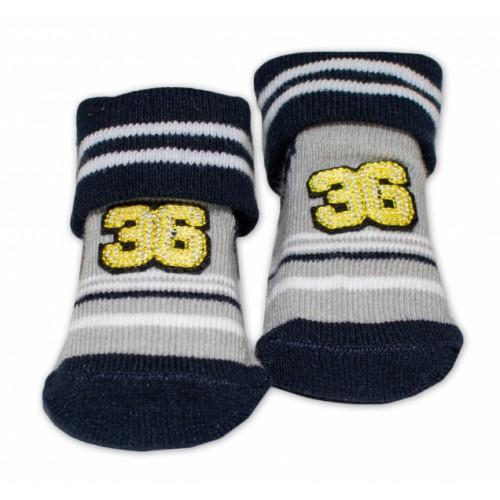 Dojčenské ponožky 0-6 m,Bobo Baby - Number 36, čierna - 0/6 měsíců