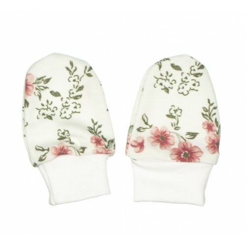 Baby Dojčenské rukavičky ROSE, púdrová-biela - 0/3měsíců