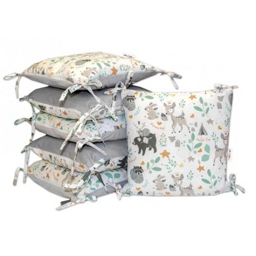 Baby Nellys  Vankúšikový mantinel Wild Animals - velvet + bavlna, sivý