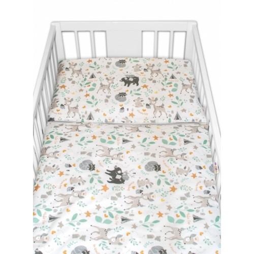 2-dielne bavlnené obliečky s Minky Baby Nellys - Wild animals, sivá - 120x90