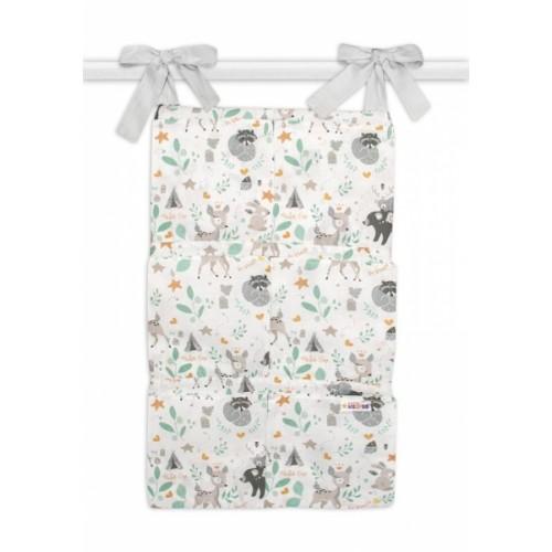 Bavlnený vreckár na postieľku Baby Nellys 6 vreciek, Wild animal, šedá