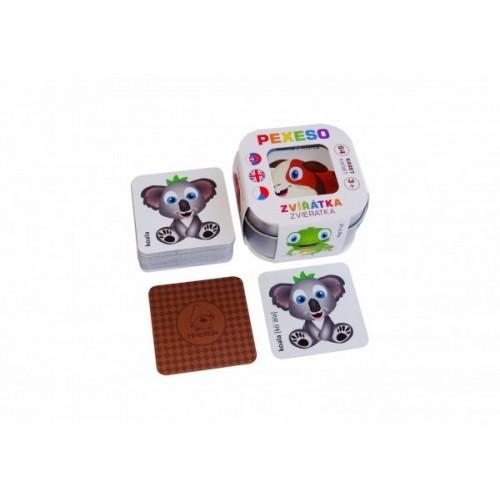 Pexeso Zvieratká 64 kariet v plechovej krabičke 6x6x4cm Hmaťák