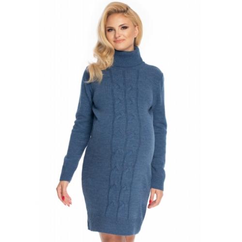 Be Maamaa Dlhý tehotenský sveter, šaty pletený vzor - jeans - UNI
