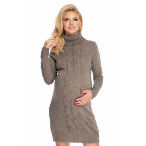 Be Maamaa Dlhý tehotenský sveter, šaty pletený vzor - cappuccino - UNI