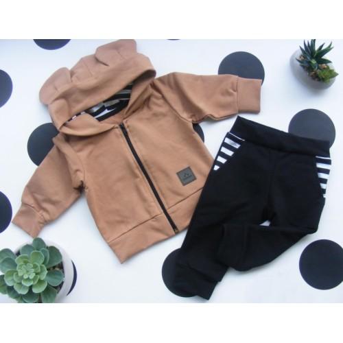 G-baby Bavlnená tepláková súprava Miki, hnedo- čierna, veľ. 92 - 92 (18-24m)
