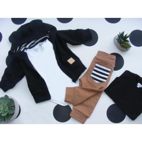 G-baby Bavlnená tepláková súprava Miki, čierno-hnedá, veľ. 80 - 80 (9-12m)
