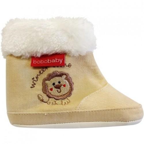 Menčestrové zimné topánočky BOBO BABY s kožušinkou - Lvíček - ecru - 3/6měsíců