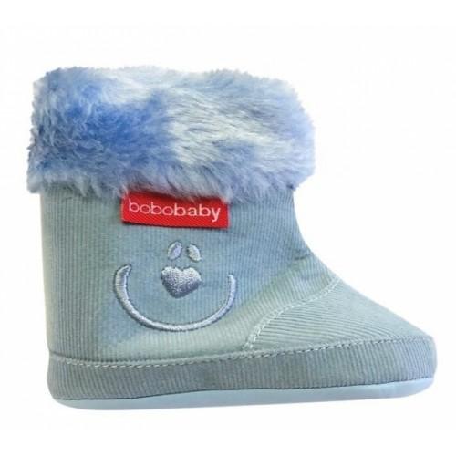 Menčestrové zimné topánočky BOBO BABY s kožušinkou - Medvedík - modré - 3/6měsíců