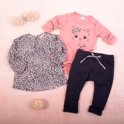 K-Baby 3 dielna sada - 1x body dlhý rukáv, tunika, legíny, Gepardík - grafit, púdrová - 62 (2-3m)