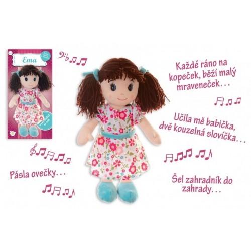 Babika Ema hadrová plyš 40 cm česky mluvící a zpívající na kartě v sáčku 0+