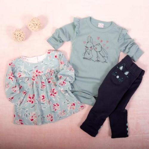 K-Baby 3 dielna sada - 1x body dlhý rukáv, tunika, legíny, Zajačikovia - mätová, granát - 62 (2-3m)