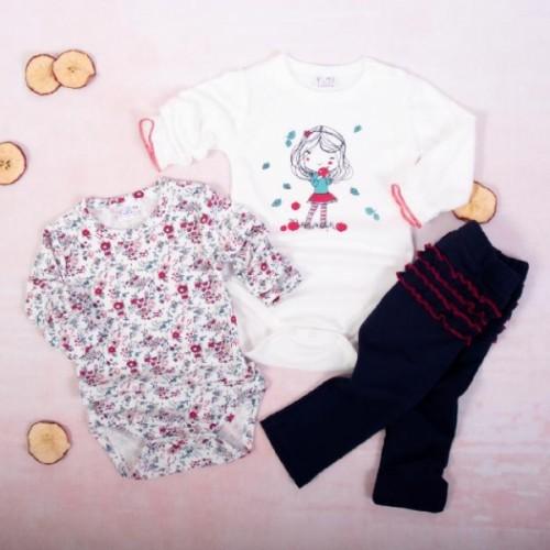 K-Baby 3 dielna sada - 2x body dl. rukáv, legíny, Dievčatko a jeseň - biela,granát - 62 (2-3m)