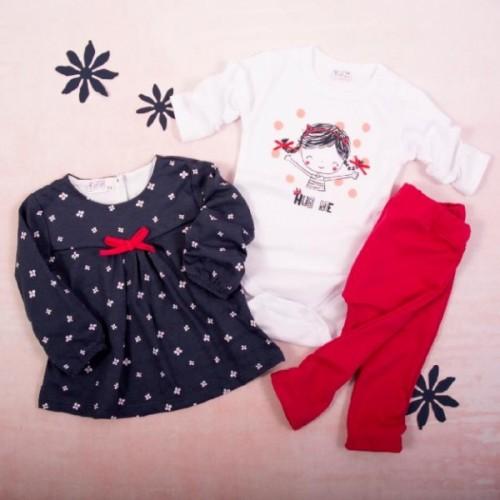 K-Baby 3 dielna sada - 1x body dlhý rukáv, tunika, legíny, Hug me - růžová, biela, granát - 62 (2-3m)