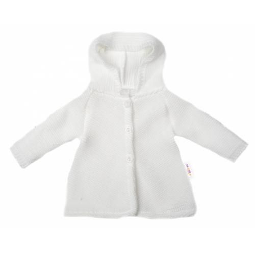 Baby Nellys Dojčenský svetrík s kapucňou, áčkový strih - biely, veľ. 62 - 62 (2-3m)
