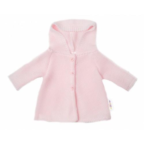 Baby Nellys Dojčenský svetrík s kapucňou, áčkový strih - růžový - 56 (1-2m)
