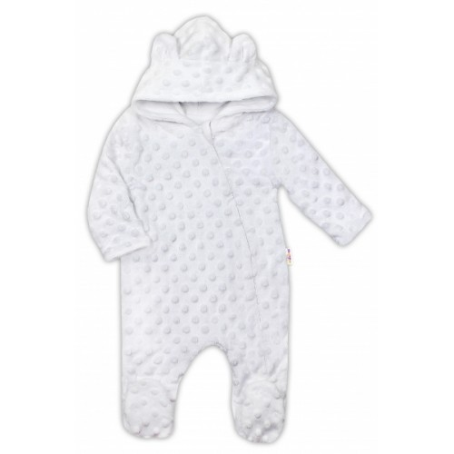 Baby Nellys Kombinézka /overal Minky s kapucňou a uškami - biela - 56 (1-2m)