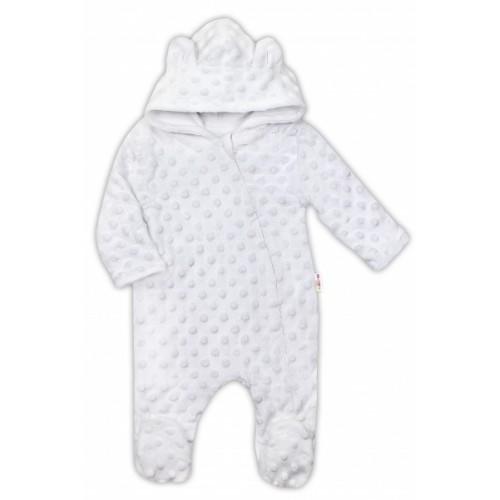 Baby Nellys Kombinézka /overal Minky s kapucňou a uškami - biela, veľ. 68 - 68 (4-6m)