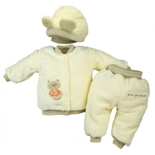 Chlupáčkový komplet Sweet Bear Baby Nellys ® - krémový - 86 (12-18m)