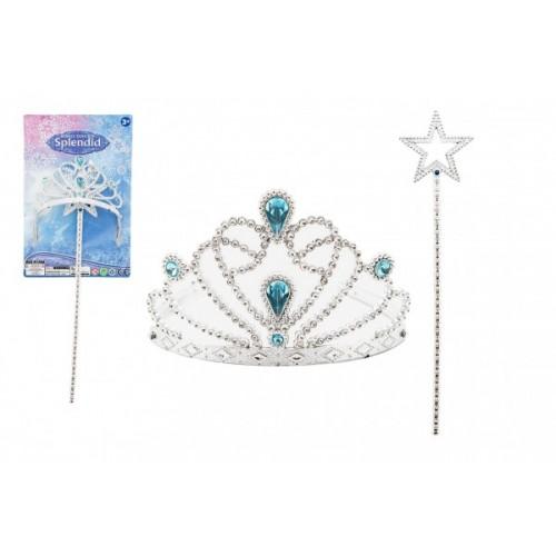 Sada krásy pro princezny plast korunka + hůlka 34cm