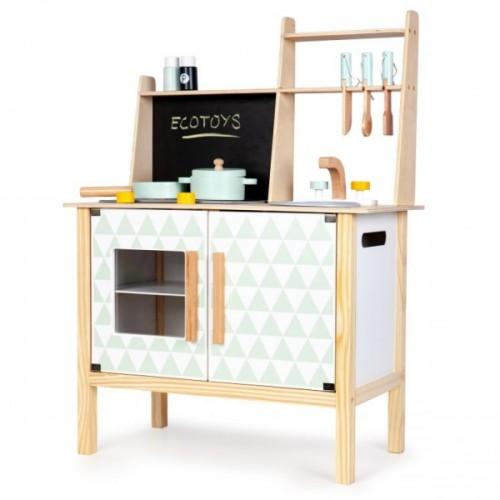 Eco Toys Drevená kuchynka s príslušenstvom, 78 x 60 x 30 cm - biela / borovica