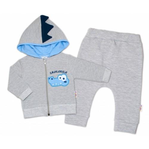 Baby Nellys Tepláková súprava s kapucňou, Crocodiles - sivá, modrá - 56 (1-2m)