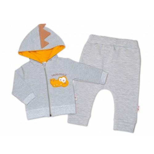 Baby Nellys Tepláková súprava s kapucňou, Crocodiles - sivá,horčicová, veľ. 80 - 80 (9-12m)