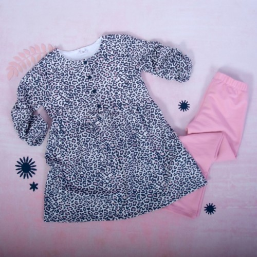 K-Baby 2 dielna sada - šaty + legíny, Gepardík - 68 (4-6m)