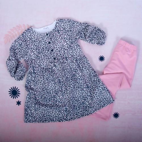 K-Baby 2 dielna sada - šaty + legíny, Gepardík, veľ. 104 - 104