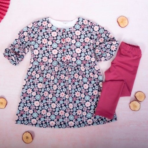 K-Baby 2 dielna sada - šaty + legíny, Kvietky, veľ. 80 - 80 (9-12m)