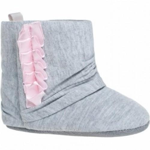 Detské capačky / topánočky BOBO BABY, sivá s ružovou, vel. 6/12m - 6/12měsíců