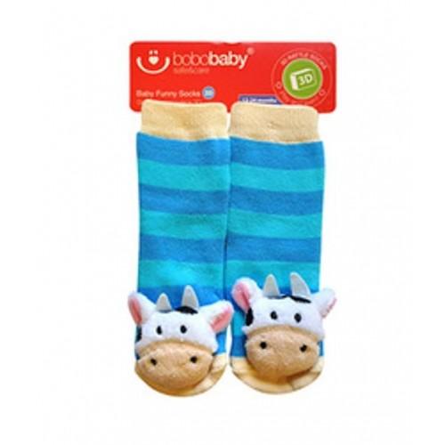 BOBO BABY Detské protišmykové ponožky 3D s hrkálkou - Kravička, sv. modrá - 12/24měsíců